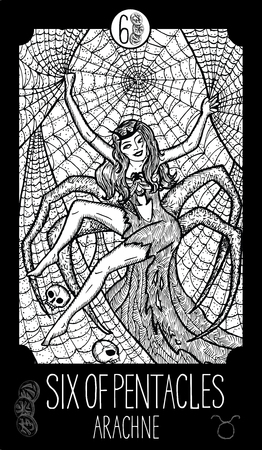 Six of pentacles. Arachne. Minor Arcana Tarot card. Fantasy line art illustration. Engraved vector drawing. See all collection in my portfolio set