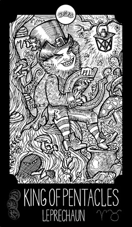 st  patrick's day: King of pentacles. Leprechaun. Minor Arcana Tarot card. Fantasy line art illustration. Engraved vector drawing. See all collection in my portfolio set
