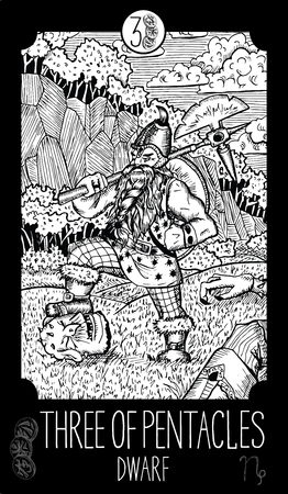 prophetic: Three of pentacles. Dwarf. Minor Arcana Tarot card. Fantasy line art illustration. Illustration