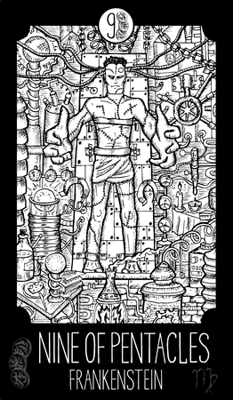 Nine of pentacles. Frankenstein. Minor Arcana Tarot card. Fantasy line art illustration. Engraved vector drawing. See all collection in my portfolio set