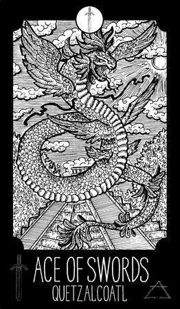 Ace of swords. Quetzalcoatl. Minor Arcana Tarot card. Fantasy line art illustration. Engraved vector drawing. See all collection in my portfolio set Illustration