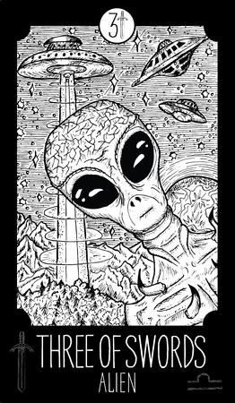 Three of swords. Alien. Minor Arcana Tarot card. Fantasy line art illustration.