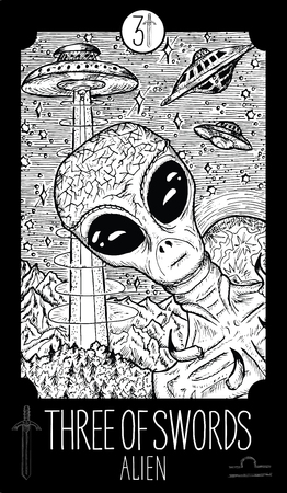 divination: Three of swords. Alien. Minor Arcana Tarot card. Fantasy line art illustration.