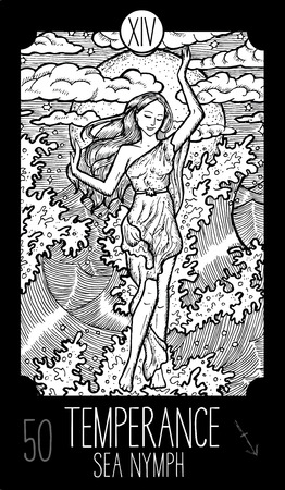 temperance: Temperance. 14 Major Arcana Tarot Card. Sea Nymph. Fantasy engraved line art illustration. Engraved vector drawing. See all collection in my portfolio set Illustration