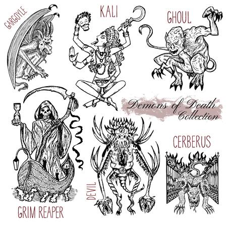 Ensemble dessiné à la main avec le concept de démons de la mort isolé sur blanc. Illustration vectorielle graphique. Dessins d'art en trait gravé de sourcils, déesse de Kali, cerberus et autres monstres. Vecteurs