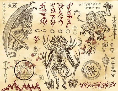 Demon collection with mystic and occult symbols. Hand drawn engraved vector illustration. There is no foreign text in the image, all symbols are imaginary and fantasy ones