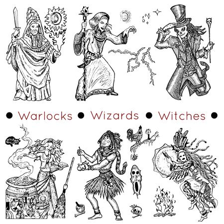 diabolic: Graphic collection with hand drawn characters of warlocks, wizards and witches.