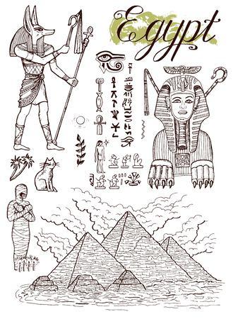 手描きでギザのピラミッド、スフィンクス、アヌビス、伝統的なエジプトのシンボル コレクション  イラスト・ベクター素材