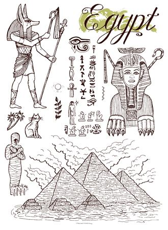Hand drawn collection with Giza pyramids, Sphinx, Anubis and traditional Egyptian symbols