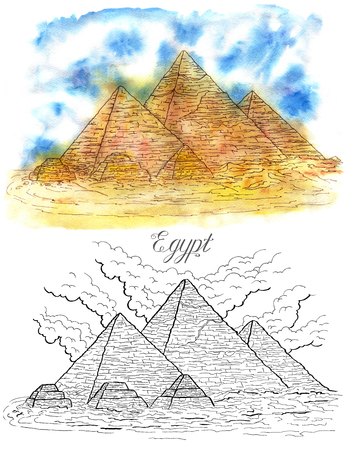 white nile: Hand drawn set with watercolor and black and white graphic illustrations of Egyptian pyramids on white, Giza Stock Photo