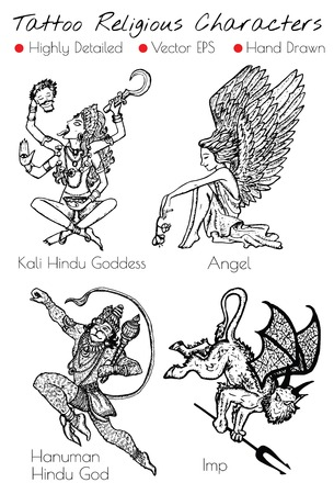 Tattoo set with hand drawn religious characters like Kali, Angel, Imp, Hanuman. Engraved vector illustration, black and white doodle drawings