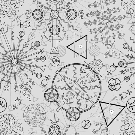 Seamless background with hand drawn mystic and esoteric symbols. Hand drawn vector illustration.