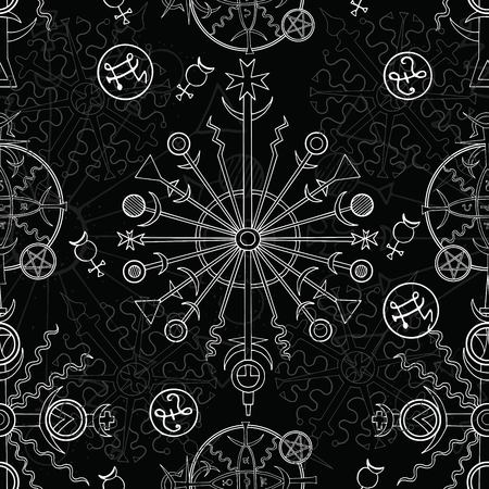 Seamless background with white mystic and occult symbols on black. Hand drawn vector illustration.