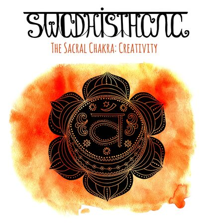 sanskrit: Black silhouette of sacral chakra on orange background with lettering. Hand drawn watercolor and graphic illustration, esoteric drawings