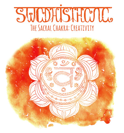 sacral: White silhouette of the sacral chakra on orange background with lettering. Hand drawn watercolor and graphic illustration, esoteric drawings
