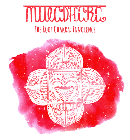 White silhouette of  the root chakra on red background with lettering. Hand drawn watercolor and graphic illustration, esoteric drawings Stock Photo