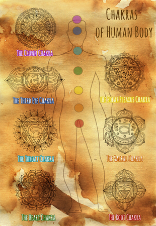 sanskrit: Collection of sacral chakras on human silhouette against paper textured background. Hand drawn graphic illustration, esoteric drawings