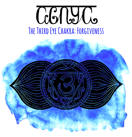third eye: Black silhouette of the third eye chakra on blue background with lettering. Hand drawn watercolor and graphic illustration, esoteric drawings