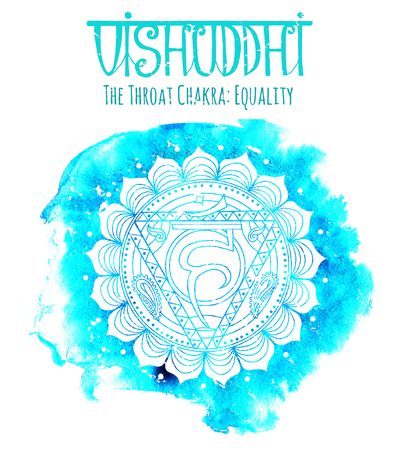 White silhouette of the throat chakra on blue background with lettering. Hand drawn watercolor and graphic illustration, esoteric drawings