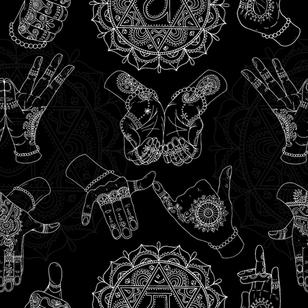 Seamless background with chakras and mudras on black. Vector mudras with mehndi henna patterns on hands, ethnic hindu ornament 矢量图像