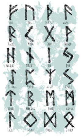 germanic people: Collection with ancient Scandinavian runes. Germanic alphabet, old norse runes on textured background Stock Photo
