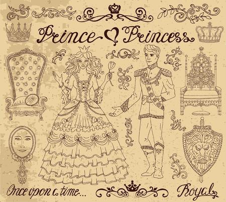 적합: 손으로 그린 질감 된 배경에 왕자와 공주 개념을 사용 하여 설정합니다. 그래픽 벡터 일러스트 레이 션, 낙서 스케치 빈티지 디자인 요소. 초대장,