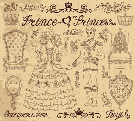 suitable: Hand drawn set with prince and princess concept on textured background. Graphic vector illustration, doodle sketch with vintage design elements. Suitable for invitation, greeting cards Illustration