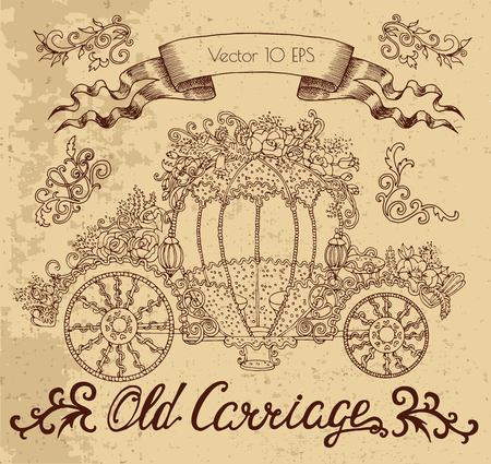 Graphic drawing with old carriage decorated with flowers. Vector illustration with vintage design elements. Suitable for invitation, greeting cards
