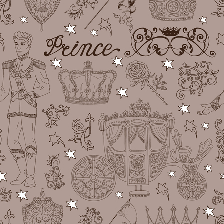 suitable: Vintage seamless background with prince and royal accessories. Graphic vector illustration, doodle sketch with vintage design elements. Suitable for invitation, greeting cards Illustration