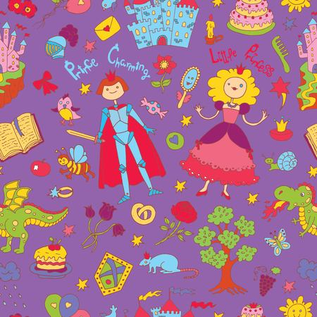 suitable: Seamless doodle background with colorful prince and princess concept on purple. Graphic vector illustration. Suitable for invitation, greeting cards design