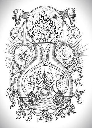 Zwart-wit tekening met mystieke, spirituele en alchemistische symbolen, sterrenbeeld Gemini-concept met maan, zon en sterren. Occulte en esoterische vectorillustratie, tatoeage of gotische gegraveerde achtergrond