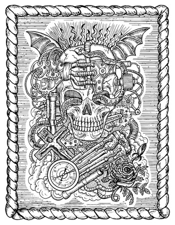 Black And White Mystic Drawing With Scary Skull Steampunk And