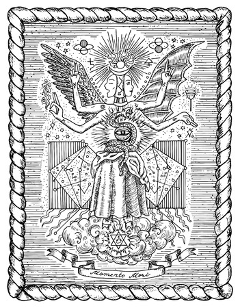 paranormal: Occult and new age drawing of mystic and spiritual symbols, goddess of wisdom and eternity, vignette banner and constellations in frame. Latin text Momento Mori means Remember that you have to die