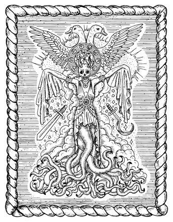 Schwarzweiss-Zeichnung mit böser Göttin oder weiblicher Dämon mit Tentakeln, Schädel und mystischen geistigen Symbolen im Rahmen. Okkulte und esoterische Vektor-Illustration, gotisch gravierten Hintergrund Standard-Bild - 83079278