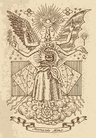 Mystic or occult drawing of spiritual symbols, goddess of wisdom and eternity, vignette banner and constellations on texture background.