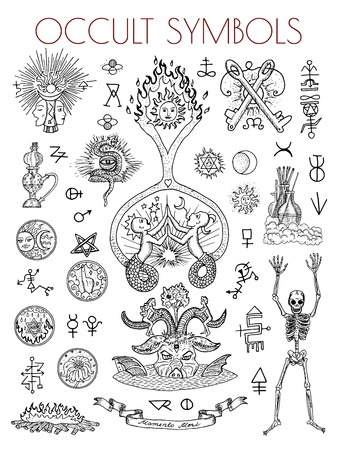 Graphic set with esoteric symbols and illustrations. Occult vector engraved illustrations, tattoo gothic and wicca concept drawings on white Ilustração