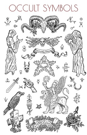Ensemble graphique avec des symboles occultes et des illustrations. Illustrations de vecteur ésotérique gravé, tatouage gothique et wicca dessins de concept sur blanc