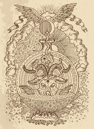 Mystic drawing with spiritual and christian religious symbols, Devil, Eve and Adam, hell and paradise on texture background. Occult and esoteric vector engraved illustration, tattoo gothic concept Ilustração