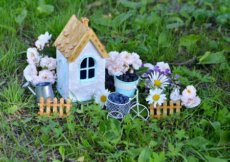 Small house with roses and daisy flowers in the garden. Lovely miniature house for greeting cards, wedding or birthday concept, real estate, downsizing, home ownership. Vintage summer background