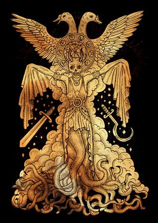 Mystieke illustratie met boze godin of vrouwelijke demon met tentakels, schedel en mystieke spirituele symbolen op oud papier achtergrond. Occult en esoterisch tekening, gotisch en wicca-concept Stockfoto