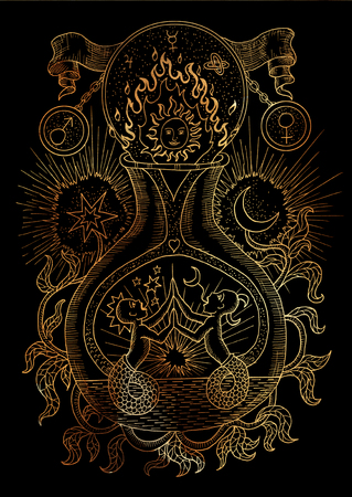 Mystic illustration with spiritual and alchemical symbols, androgyne, twins or Gemini concept on black background. Occult and esoteric drawing, gothic and wicca concept Stock Photo