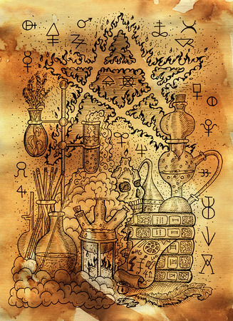 Mystic illustration with alchemical symbols, skull, fire pentagram and laboratory equipment on old paper background. Occult and esoteric drawing, gothic and wicca concept Stock Photo