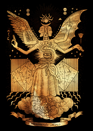 Mystic illustration of spiritual symbols, goddess of wisdom and eternity on paper background. Occult drawing, gothic and wicca concept. Latin text Momento Mori means Remember that you have to die