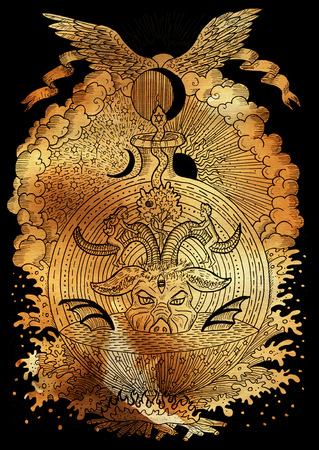 halloween background: Mystic illustration with spiritual and christian religious symbols as Devil, Eve and Adam, hell and paradise on paper background. Occult and esoteric drawing, gothic and wicca concept