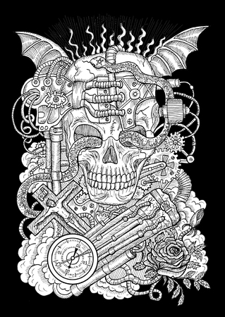 White mystic illustration with scary skull, steampunk and gothic symbols as rose, demon wings, cross, cogs and wheels on texture background. Occult and esoteric drawing, gothic and wicca concept Stock Photo