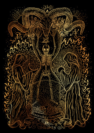 divination: Mystic illustration with evil goddess or female demon with tentacles, skull and mystic spiritual symbols on black background. Occult and esoteric drawing, gothic and wicca concept