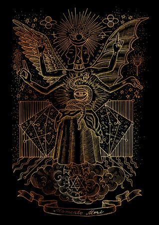 精神的なシンボルの神秘的なイラスト黒背景に知恵の女神。神秘的な秘密の図面、ゴシック様式、ウィッカのコンセプトです。ラテン語テキスト Mome