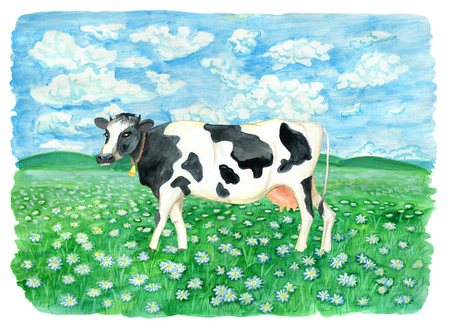 Leuke koe op het gebied met bloemen tegen hemel met wolken. Uitstekende landelijke achtergrond met de zomerlandschap, waterverfillustratie met ontwerp grafische elementen Stockfoto