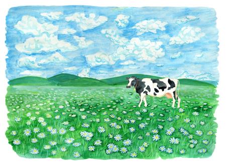 Grasland met koe, wolken in de lucht en kopieer de ruimte. Uitstekende landelijke achtergrond met de zomerlandschap, waterverfillustratie met ontwerp grafische elementen