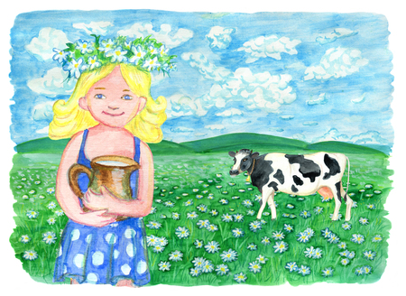 Beautiful little girl and cow on the grass field. Vintage rural background with summer landscape, watercolor illustration with design graphic elements